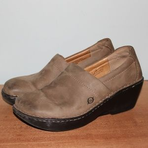 Born Suede Slip On Clogs Wedge Heel Womens 8
